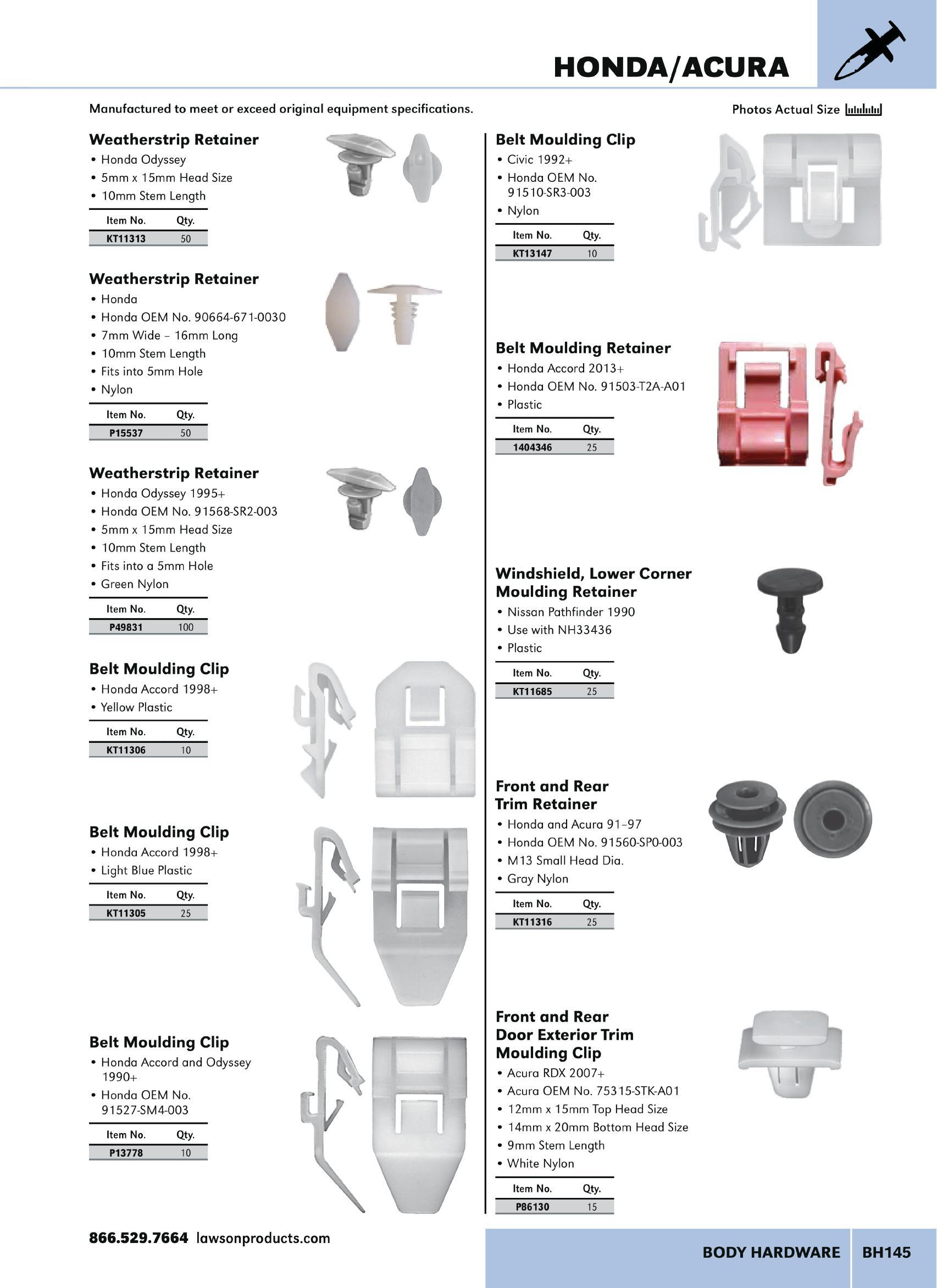 Lawson Products Catalog CA 2015 Page BH145 - Body Hardware