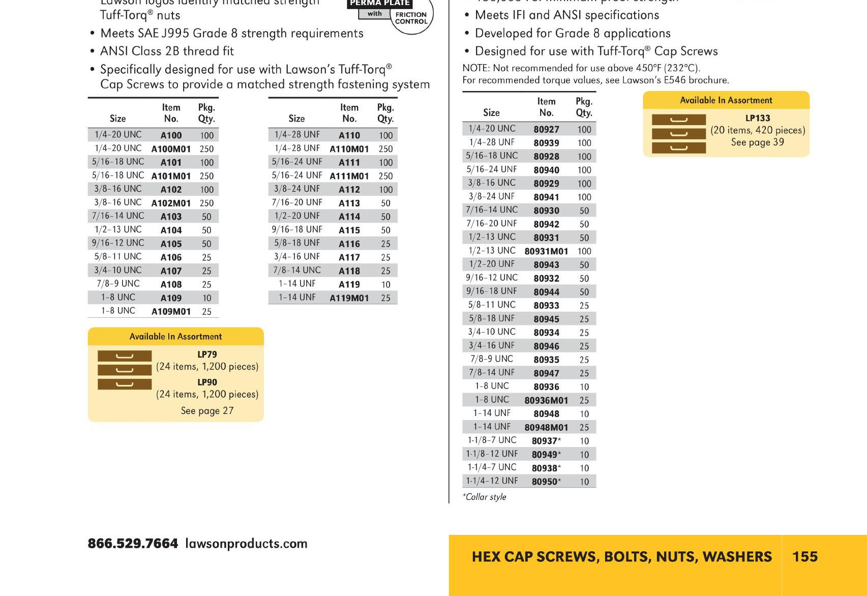 Lawson Products Catalog US 2015 Page 155 - Hex Cap Screws